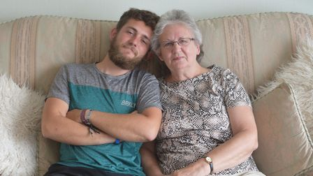 Lewis arrived in Lowestoft to see his nan while on his charity cycle ride. Picture: Greta Levy