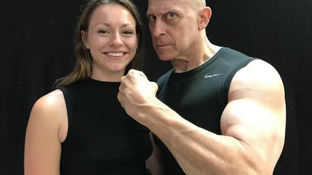 EDP reporter Bethany Wales with former TV Gladiator Michael Van Wyke aka Wolf, at the Nor-Con event.