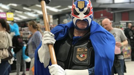 Simon Wheats, 55 from Nottingham, dressed as Judge Lucha at the Nor-Con event at the Norfolk Showgro