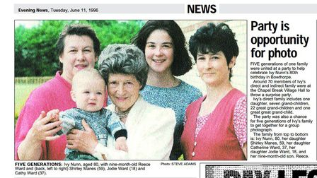 A cutting form 1996 showing Ivy Nunn then 80, with her great-great-grandson Reece. Picture: Archant
