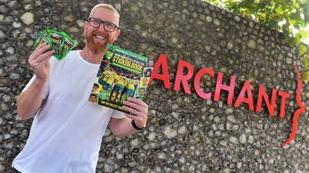 Norwich City legend Iwan Roberts with his copy of the new Norwich City Sticker Book Picture: Jamie H