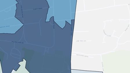 Harvey Lane in Norwich - the darker the colour, the higher the level of deprivation. Picture: Flouri