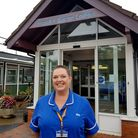 Senior community nurse Janine Cott, pictured at Priscilla Bacon Lodge, with her hair growing back P