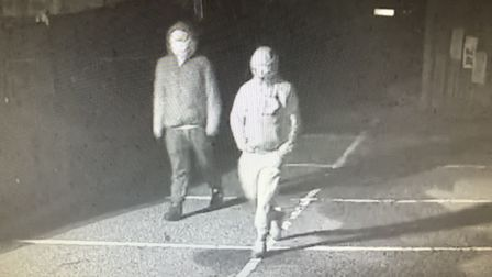 CCTV of suspects following theft of milk at Edith Cavell Academy. PIC: Supplied by Edith Cavell Acad