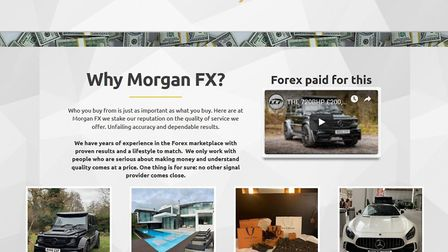 The website of Morgan Reeve's company, Morgan FX, showing the luxury lifestyle investors could lead.