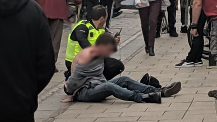 PC Dan Chilvers was attacked by a man on Haymarkey in Norwich on Saturday afternoon. Photo: Matt Cos