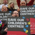 A protest at County Hall against the closure of the children's centres. Picture: DENISE BRADLEY