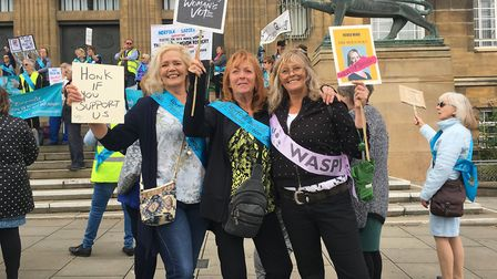 The Norfolk Broads PAIN group held a rally to protest changes to the womens state pension age in Nor