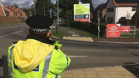 Breckland Police officers doing a speed check on Brandon Road, Swaffham. Picture: BRECKLAND POLICE