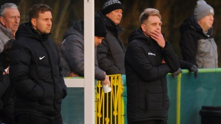 Cedric Anselin, right, manager of Norwich United Picture: DENISE BRADLEY
