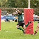 Jake Callender prepares to touch down during North Walsham Raiders' comprehensive win over Norwich L