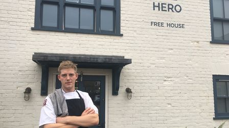 Chef James Barnes, who works at The Hero in Burnham Overy, helped save a father from his burning veh
