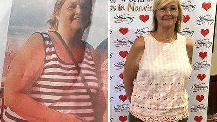 Mandy Wick (left, before her weight loss - right, after) recently took part in a challenge with memb