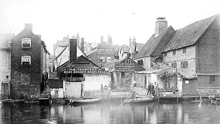 Picture shows old photo of the Ferry Boat, when it was the Steam Packet, taken from Riverside road l