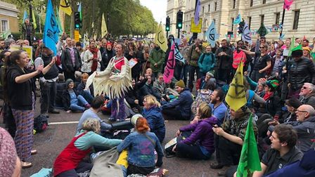 Nine people from Norwich have been arrested in the Extinction Rebellion protests today. Picture: Ext