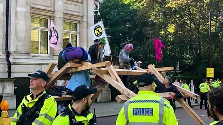 Police spent 30 mintues trying to dissolve the superglue. Picture: Extinction Rebellion Norwich