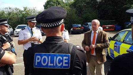 Suffolk Police and Crime Comissioner Tim Passmore with Operation Sentinel officers in south Suffolk.