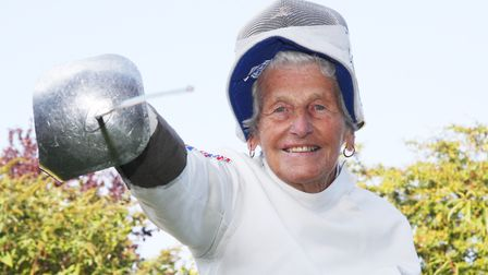 Fencer Connie Adam, pictured aged 88. Picture: Maurice Gray