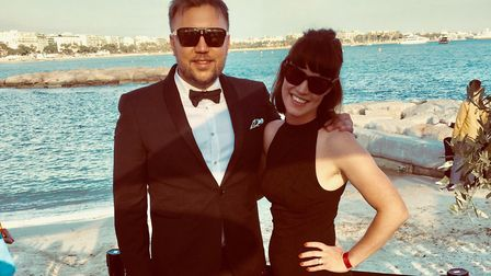 Richard and Rachel Prendergast at Cannes Film Festiva celebrating success of Sylvia which has now qu