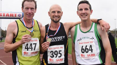 Michael Eccles (second), left; Matthew Jeffries (first), centre; and James O'Neill (third) in the Ea