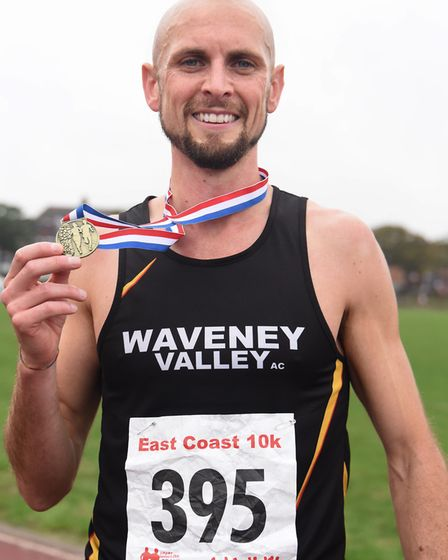 Matthew Jeffries wins the East Coast 10k run at Great Yarmouth. Picture: DENISE BRADLEY