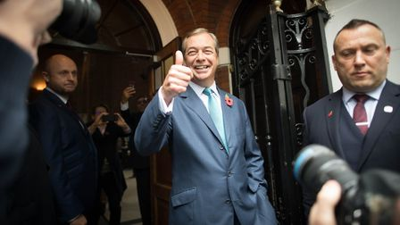 Nigel Farage at the Brexit Party's campaign launch. The party's candidate in North Norfolk Harry Gwy