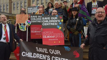 The protest at County Hall against the closure of the children's centres. Picture: DENISE BRADLEY