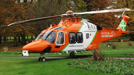 The MAGPAS air ambulance which has landed in The Walks in King's Lynn Picture: Chris Bishop