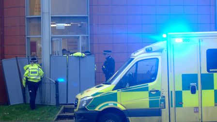 Emergency services at the scene of the incident at the St James car park, in King's Lynn Picture: C