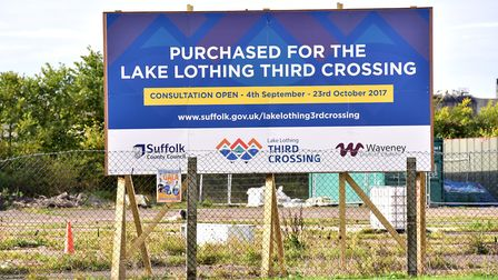 A new sign highlighting that the land close to lake Lothing has been acquired for major third crossi