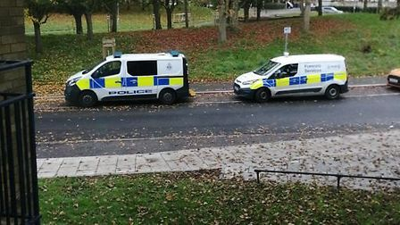 Police at the back of Dereham Road in Norwich following an incident. Picture Twitter/SaraJohnPoll.