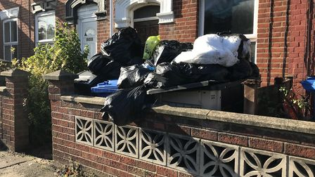 The pile of rubbish in Silver Road, Norwich - pictured here on October 27 - has been cleared. Pictur