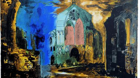 Binham Priory, lithograph, by John Piper, 1981, features in Peter Tolhurst's new book Brilliant Beac