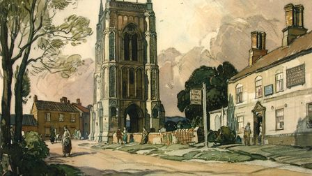 The Tower, West Walton, by Leonard Squirrell, watercolour 1936, features in Peter Tolhurst's new bo