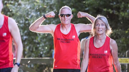 Race organiser Adie Grand with his wife Jill alongside him. Picture: Baz Hipwell