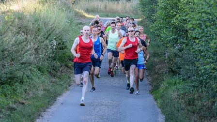 They off at the start of a Braydeston Mile Road Race. Picture: Baz Hipwell