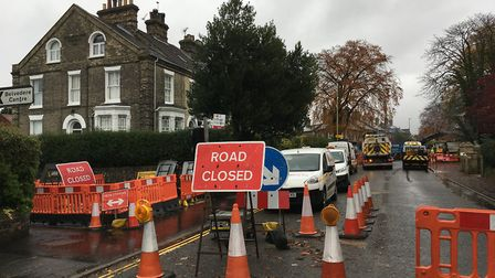 The roadworks on Earlham Road, Norwich, as part of the Transport for Norwich project. Picture: Sophi