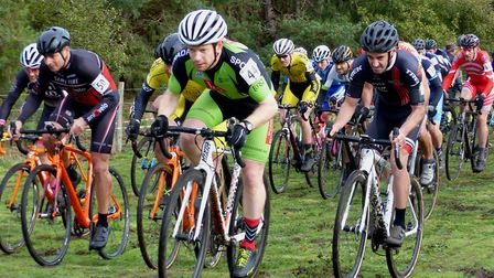 The vets 40-49 start at West Suffolk Wheelers' cyclo-cross at West Stow with eventual winner Stuart