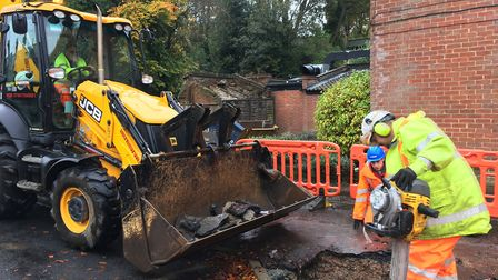 Workers starting the repair on the sinkhole on Earlham Road, Norwich, which appeared on November 6,