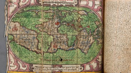 A map of the world from the 16th century commonplace book. Picture: Norfolk Museums Service