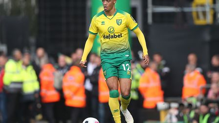 Jamal Lewis of Norwich in action during the Premier League match at Carrow Road, Norwich. Picture by
