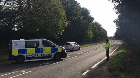 Police at the scene on the A149 near North Walsham in 2018. Picture: Stuart Anderson