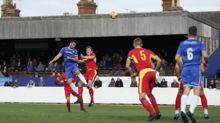 Lowestoft captain Travis Cole and Needham's Daniel Morphew in aerial action Picture: Shirley D Whi