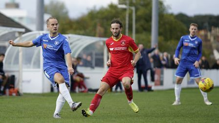 Lowestoft's Andrew Fisk in action against Needham Market Picture: Shirley D Whitlow