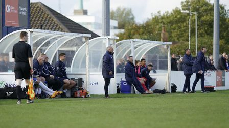 Lowestoft boss Jamie Godbold urges his team on Picture: Shirley D Whitlow