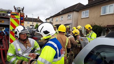 A dog was rescued from a fire in South Lynn this morning. Photo: Norfolk Fire and Rescue