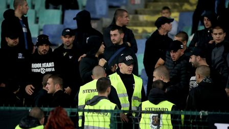Bulgaria fans in the stands during the UEFA Euro 2020 Qualifying match against England on Monday. Th
