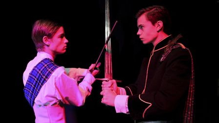 Echo Youth Theatre's production of Quick-Brewed Macbeth - Macbeth and Macduff (C) Echo Youth Theatre