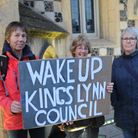 Activists from King's Lynn Youth Climate Campaigner and Extinction Rebellion protest outside King's