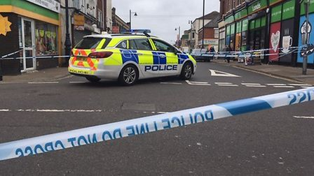 A police cordon is in place at the top of King Street and St Peter's Road in Great Yarmouth Picture: